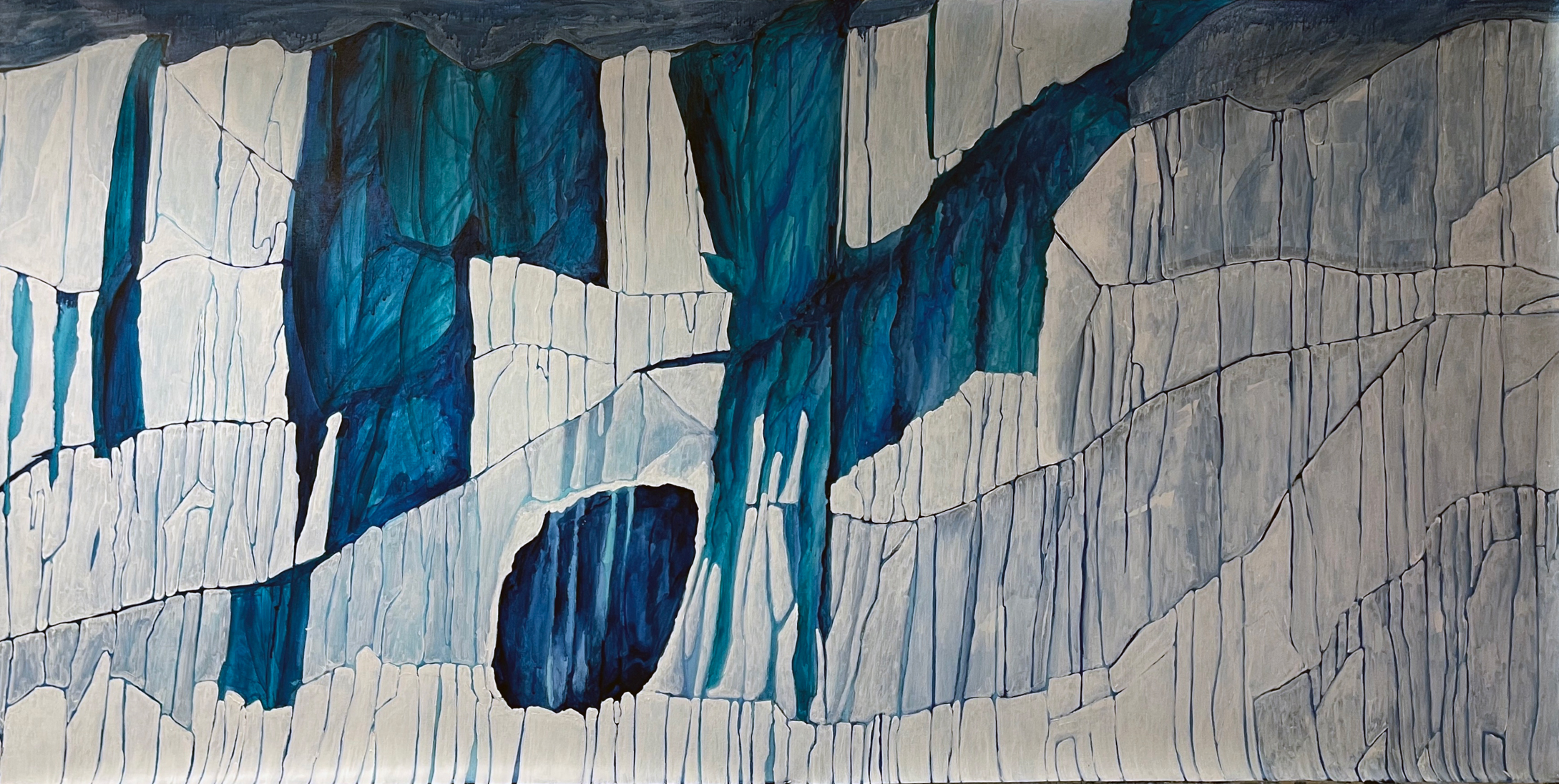 glacier painting, blue painting, art by the pound