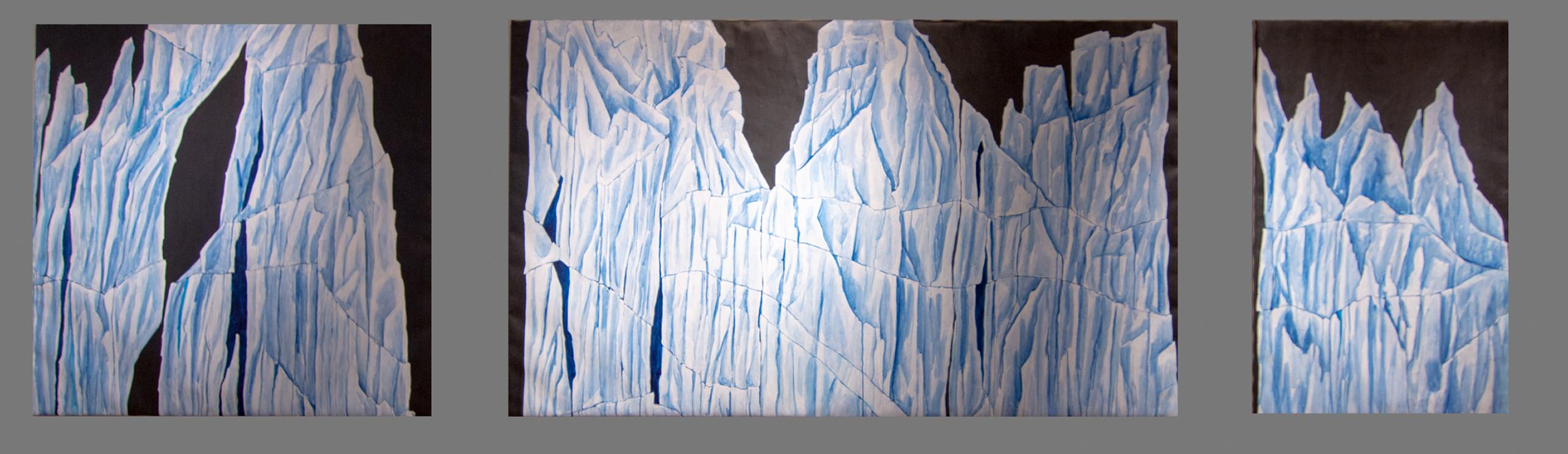 glacier painting, blue, blue painting
