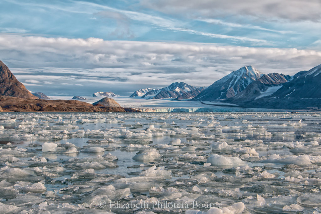 distant glacier with ice growlers and snow capped mountains Svalbard
