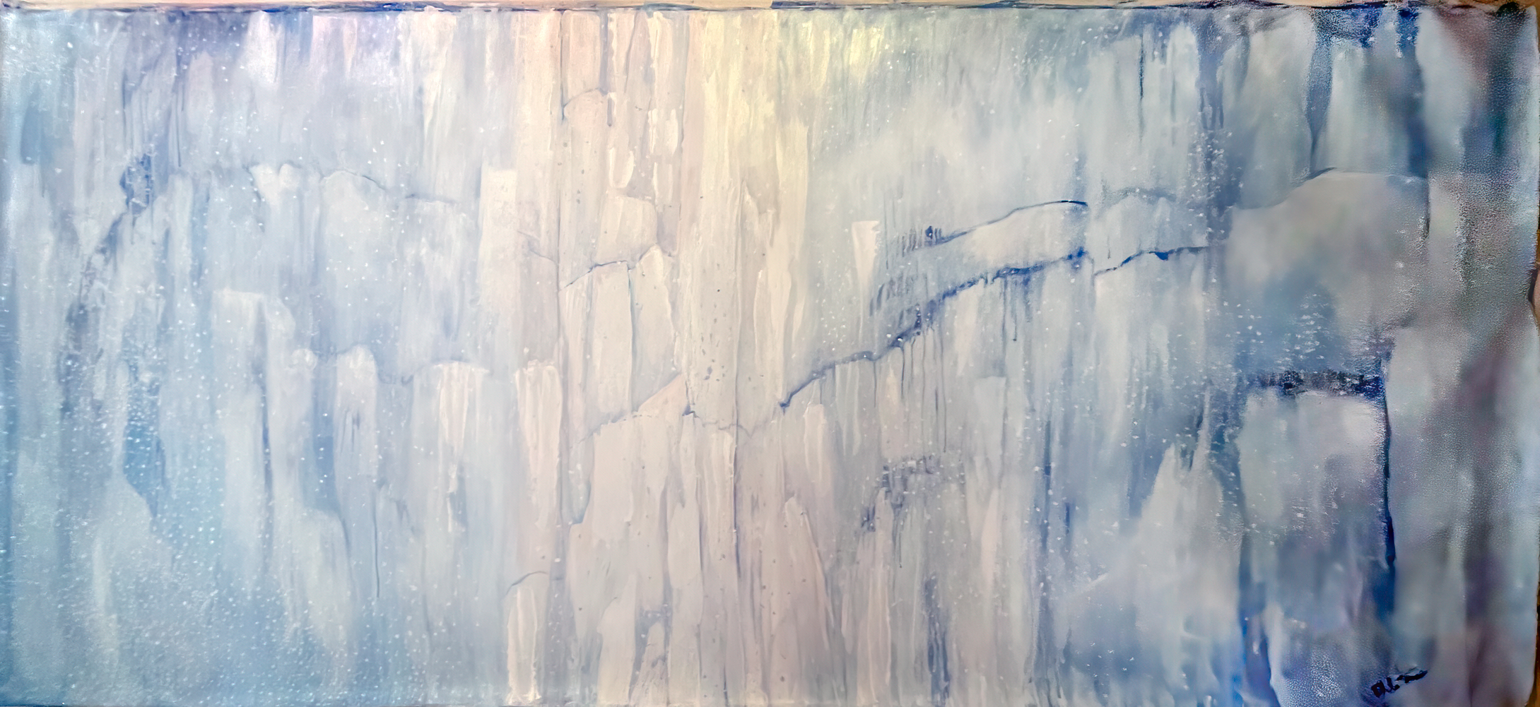 glacier painting,, white and blue, blue painting