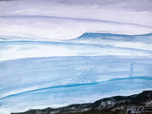 Painted sketch of ice field