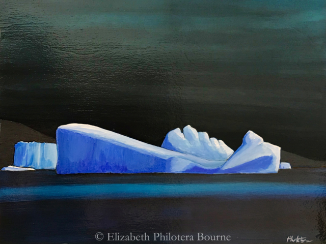 painting blue icebergs against dark sky and sea