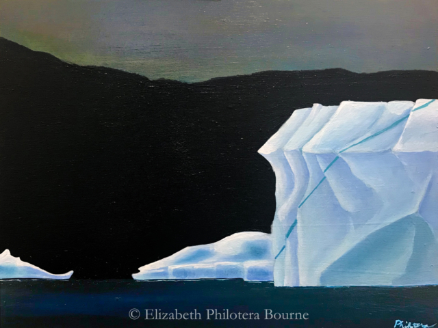 painting white iceberg against black mountains