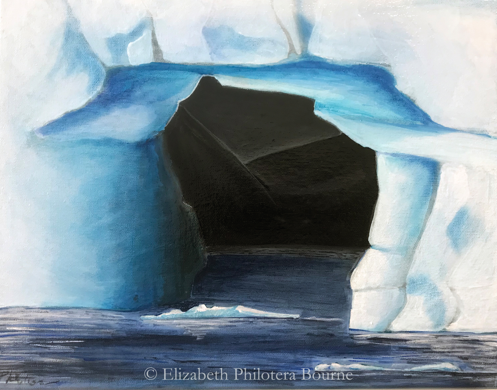 painting close up of arched iceberg with black mountains behind