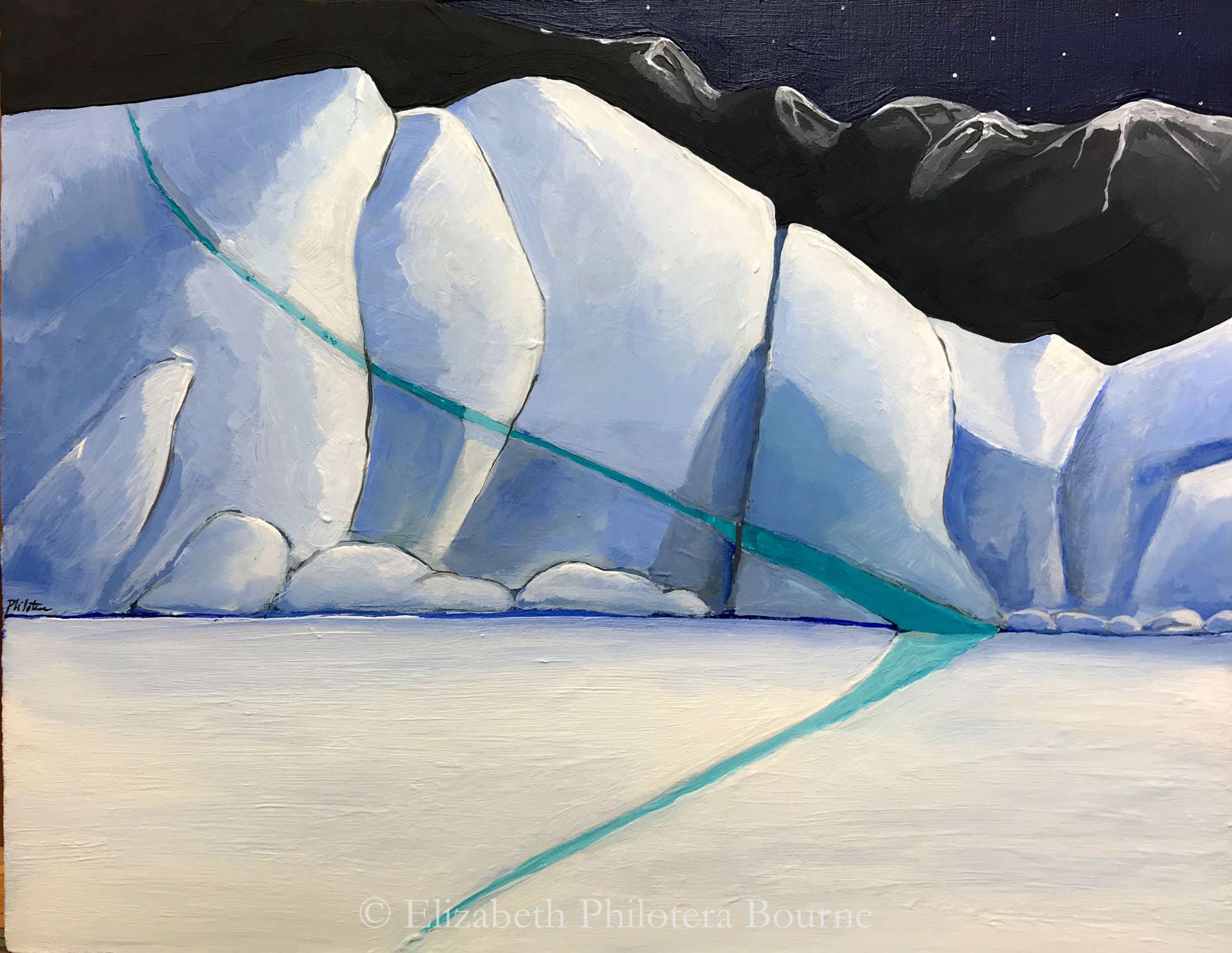 Painting blue ice with green streak against grozen sea and black mountains