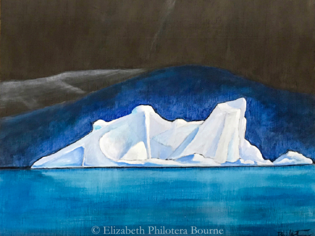 painting iceberg against blue and dark color background on turqoise sea