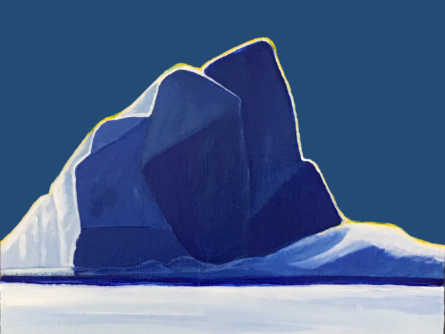 painting of large blue iceberg against a blue sky