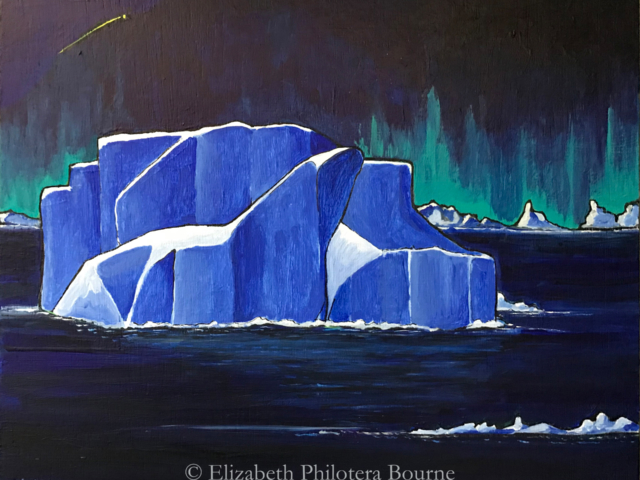 painting blue icebergs against northern lights sky and dark water