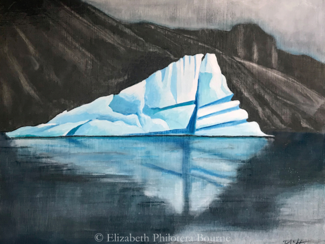 painting turquoise iceberg against dark cliffs and dark water