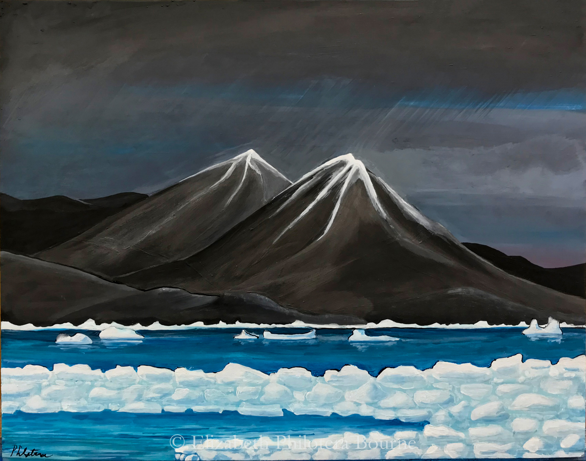painting of sea ice in a fjord with two black mountains in storm
