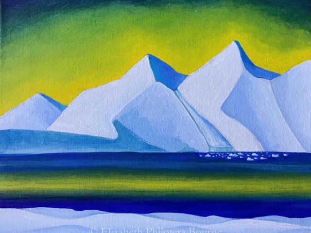 painting yellow sky with blue snowy mountains, distant glacier and icebergs
