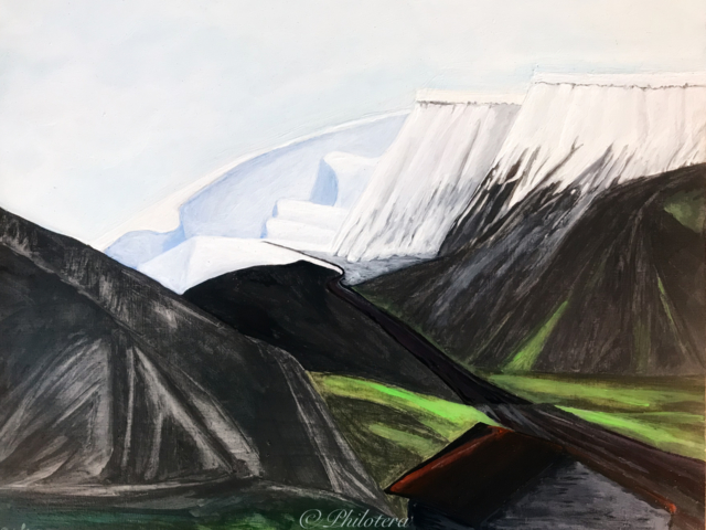Painting of Longyearbyen landscape