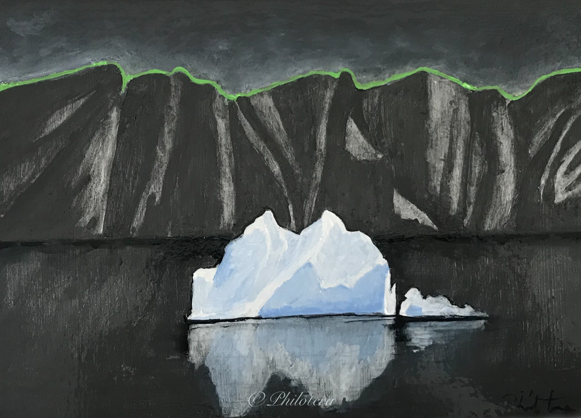 Painting black cliffs and iceberg