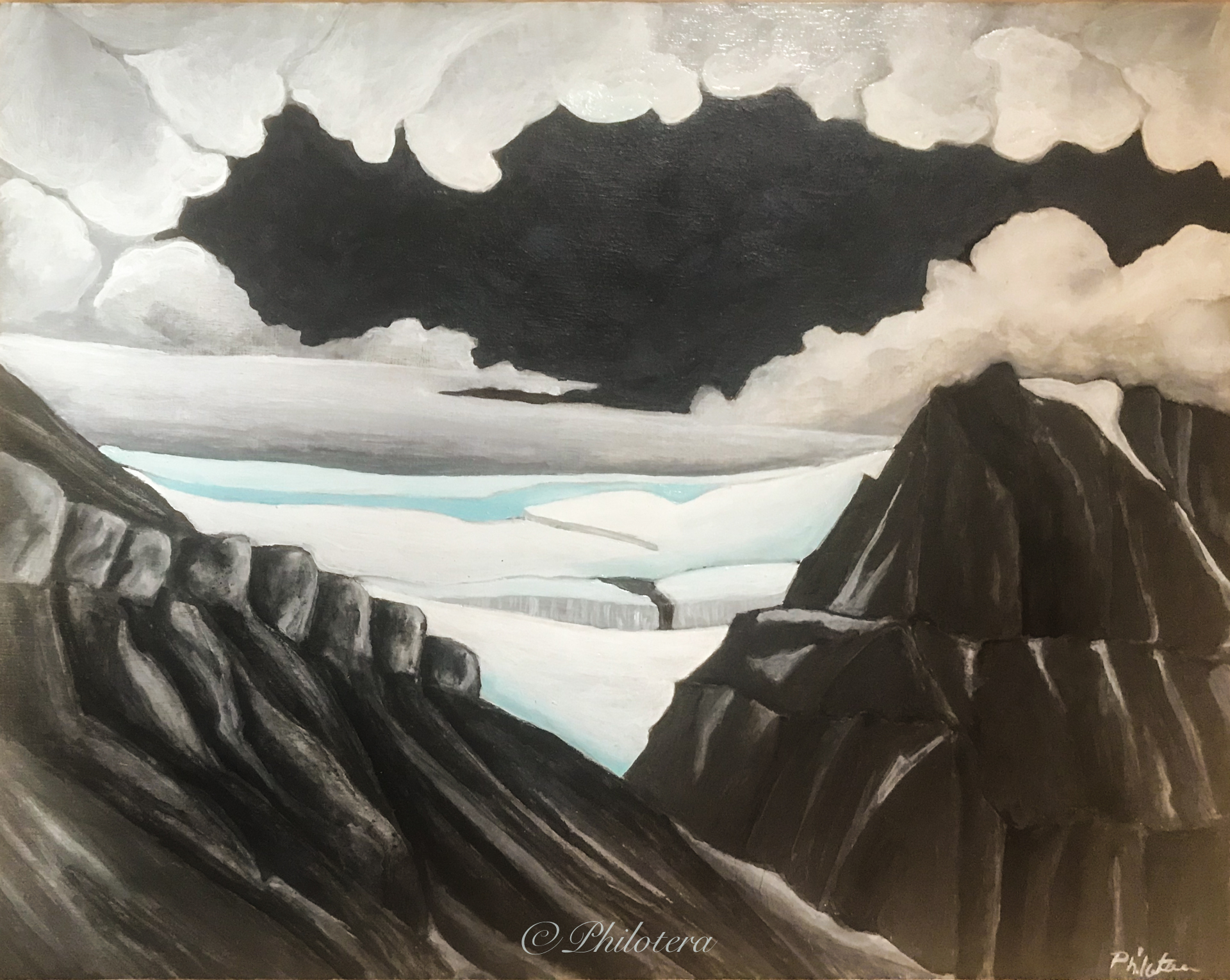 painting of Longyear valley and glacier