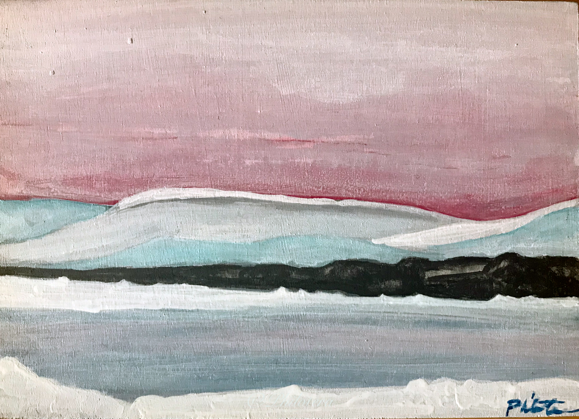 Painted sketch of snow mountains