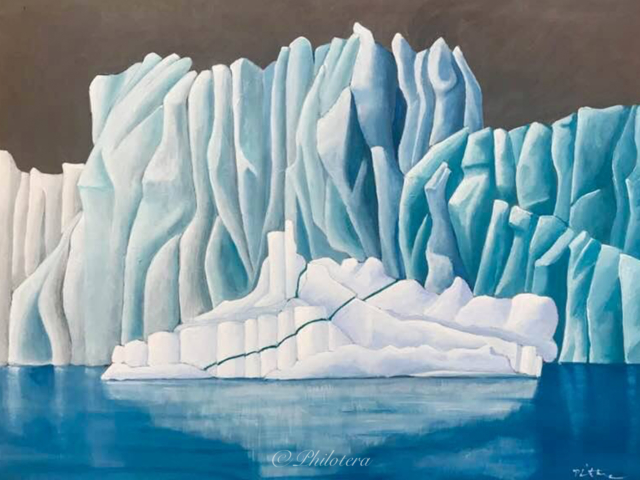 painting of blue glacier, white iceberg