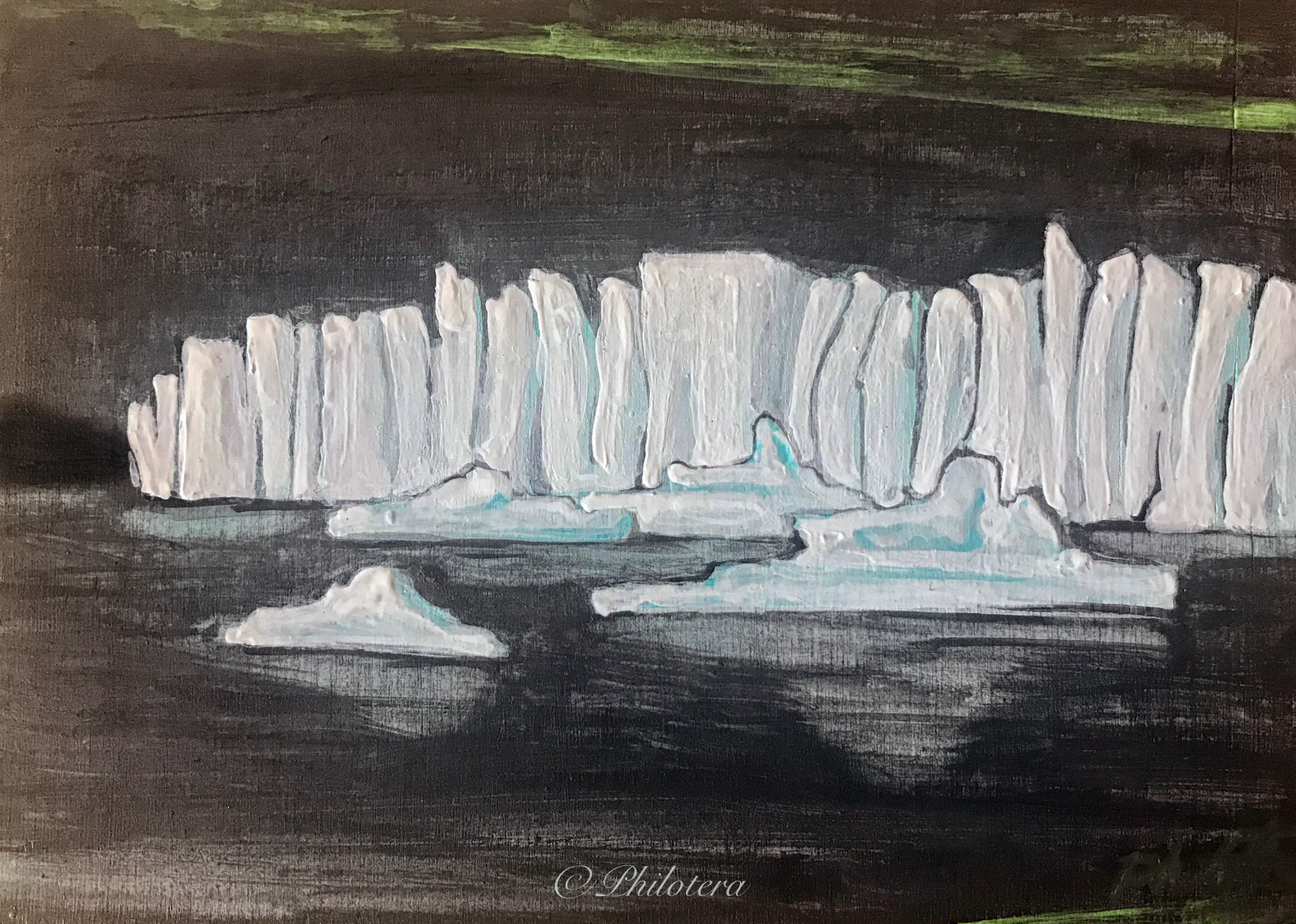 Painted sketch of glaciers and icebergs