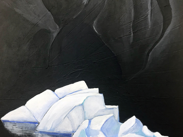 Painting icebergs under black rocks Philotera