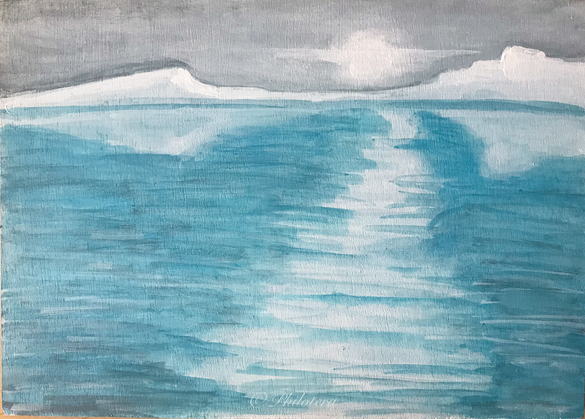 Painted Sketch of icebergs and reflections