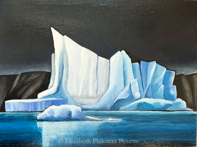 blue and white iceberg painting against dark gray sky