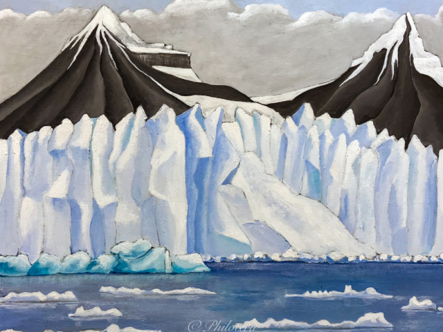 painting of svalbard glacier