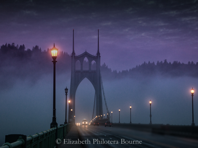 purple sky at dawn and St Johns bridge Portland ORegon
