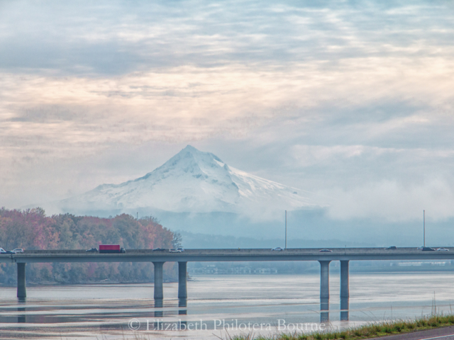 early morning traffic along 405 in Portland Oregon with Mt Hood in background