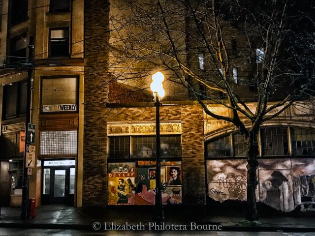 Seattle urban night scene with street lights