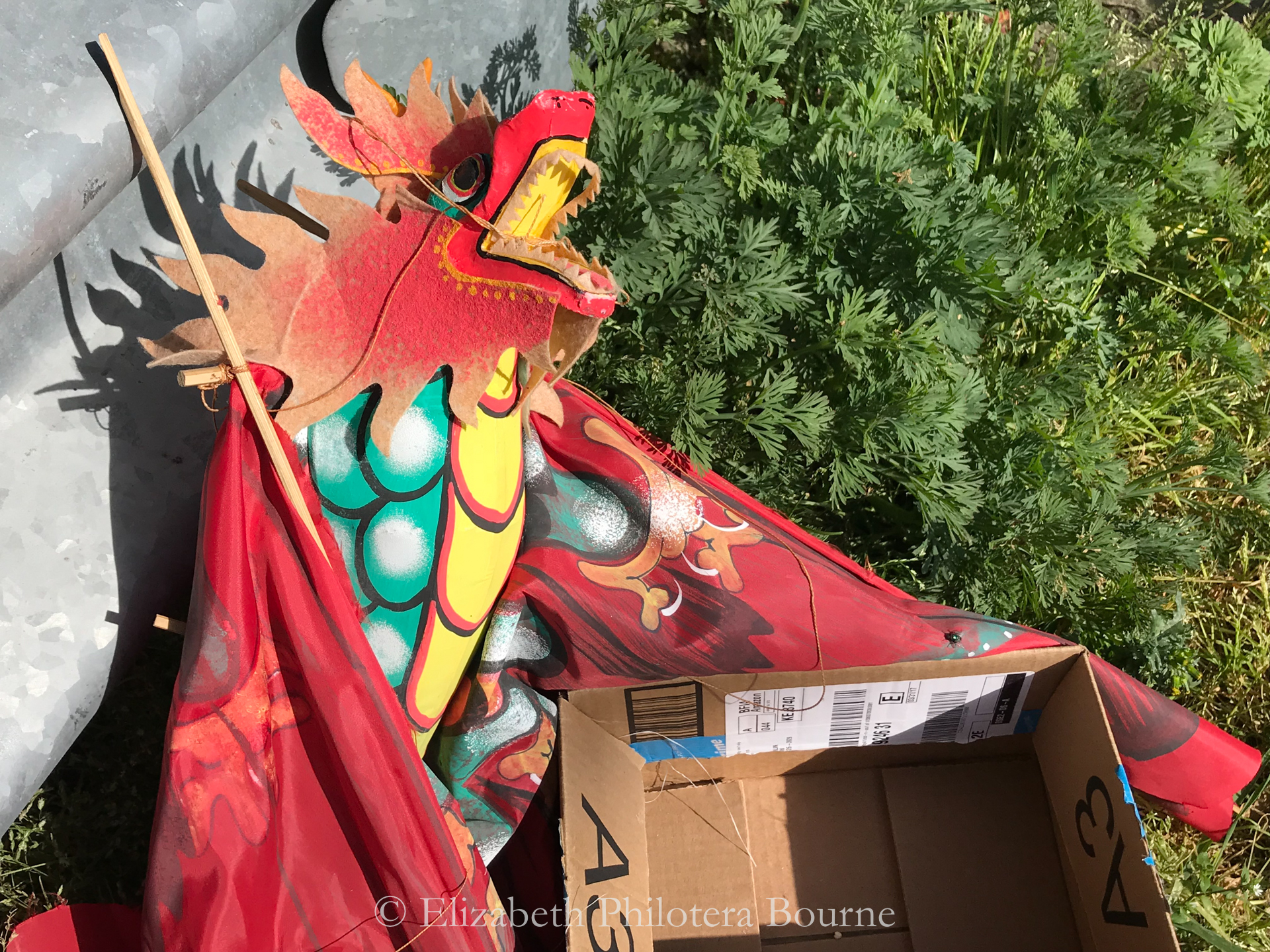 Red paper dragon kite with empty cardboard box