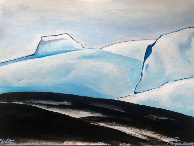 Snow white mountain Iceland Gouache