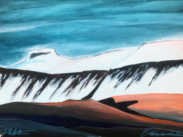 Gouache painting of white mountains Iceland