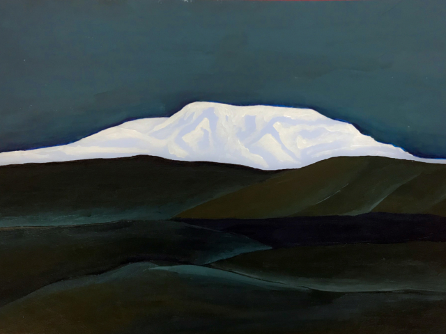 Gouache painting snow mountain Iceland