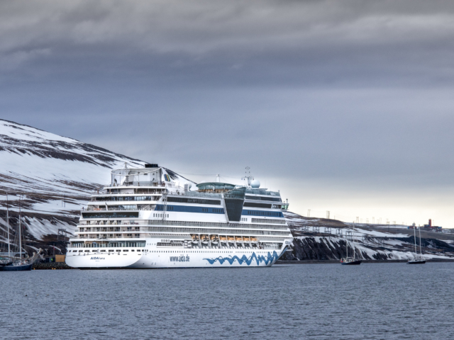Aidaluna cruise ship in the arctic port of Longyearbyen